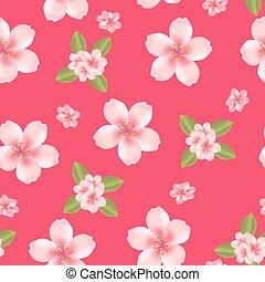 blomma, körsbär, seamless, bakgrund