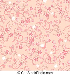 blomma, körsbär, seamless, mönster