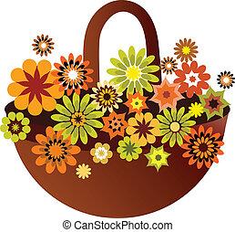 blomma, kort, fjäder, illustration, vektor, korg
