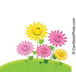 blomma, lycklig, fjäder, trädgård