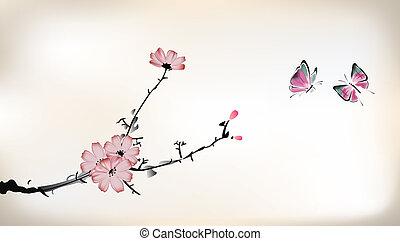 blomma, målning