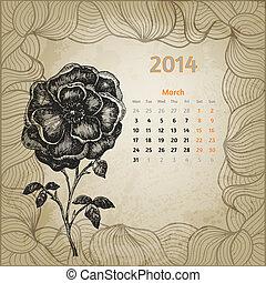 blomma, mars, serie, bläck, hand, botanisk, calendar., penna, artistisk, årgång, oavgjord, kalender, en, 2014., kort