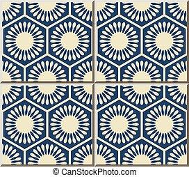 blomma, polygon, geometri, mönster, ram, keramisk, cell, ...