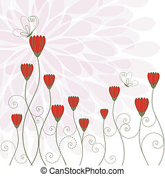 blomma, röd, fjäril