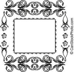 blomma, ram, prydnad, hälsning, illustration, vektor, kort