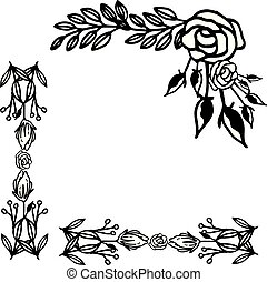 blomma, ram, ro, bakgrund., form, vektor, utsirad, vit, kort