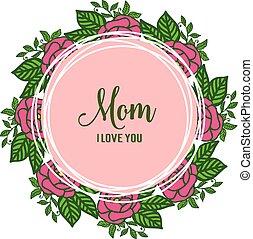 blomma, ro, ram, inbjudan, illustration, vektor, mamma, utsirad, kort