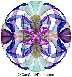 blomma, sphere., förårsaket, dator, mystisk, graphics.