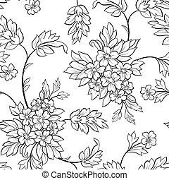 blomma, svart, skissera, seamless