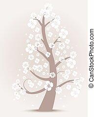 blomma, träd, silhuett