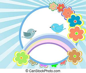 blomma, -, vektor, design, bakgrund, inbjudan, baby fågel, kort