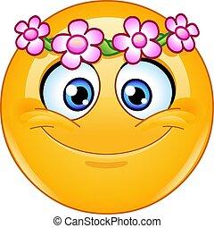 blommahuvud, krans, emoticon