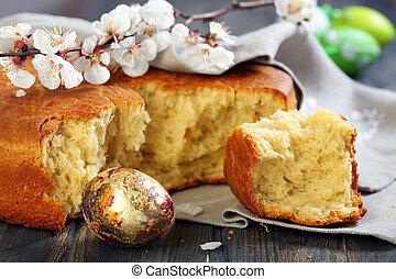 blommande filial, av, aprikos, och, italiensk, påsk, bread.