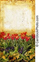 blommaträdgård, på, grunge, bakgrund