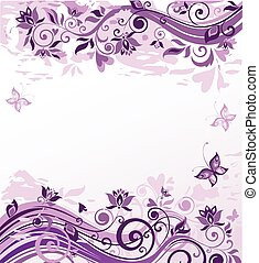 blommig, årgång, bakgrund, violett