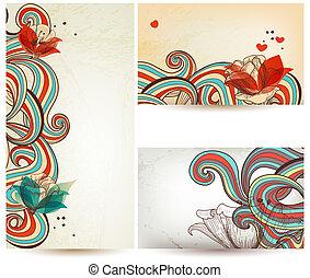 blommig, årgång, baner, vektor, illustration