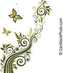 blommig, årgång, design