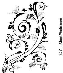 blommig, årgång, gräns, design, din