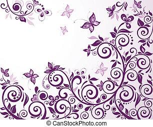 blommig, årgång, kort, violett