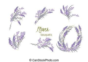 blommig, årgång, lavendel, bakgrund, retro