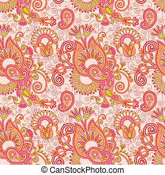 blommig, årgång, paisley, seamless, mönster
