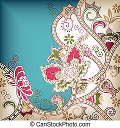 blommig, abstrakt, asien