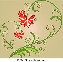 blommig, abstrakt, bakgrund
