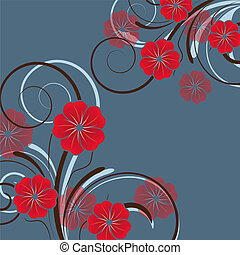 blommig, abstrakt, blomningen, design