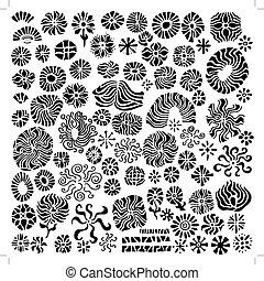 blommig, abstrakt, elementara, design, vectors