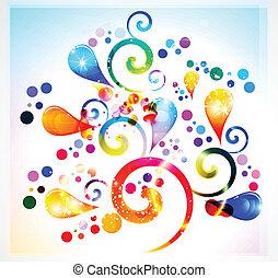 blommig, abstrakt, färgrik