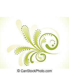 blommig, abstrakt, grön