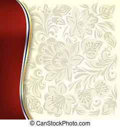 blommig, abstrakt, prydnad, vit fond