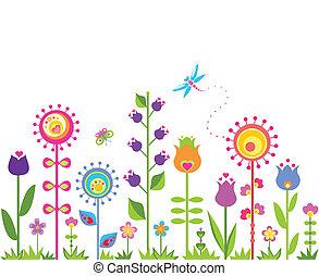 blommig, abstrakt, seamless, bakgrund