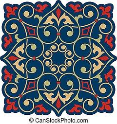 blommig, arabiska, element, design.