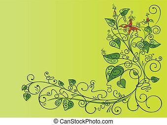 blommig, bakgrund