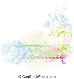 blommig, bakgrund, design