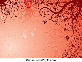 blommig, bakgrund, grunge, vektor