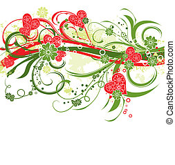blommig, bakgrund, grunge, vektor, valentinkort