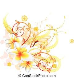 blommig, bakgrund, kylig