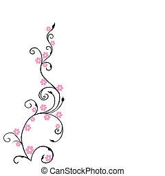 blommig, bakgrund, lövverk, med, rosa blommar