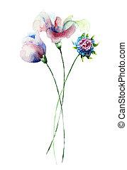 blommig, bakgrund, med, blomningen