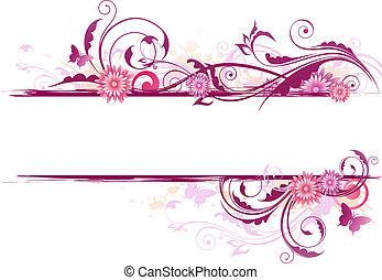 blommig, bakgrund, med, prydnad