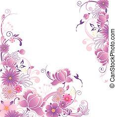 blommig, bakgrund, med, rosa, och, viol blommar