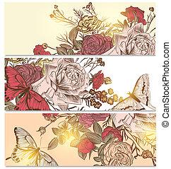 blommig, bakgrunder, sätta, med, ro, och, fjärilar