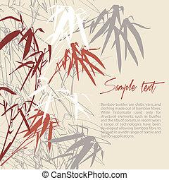 blommig, bamboo., bakgrund