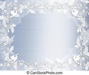 blommig, blå, bröllop, gräns, inbjudan