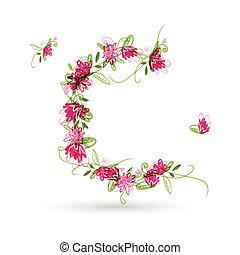 blommig, brev c, för, din, design