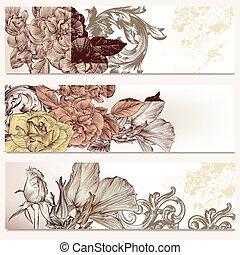 blommig, broschyr, stil, sätta, vektor