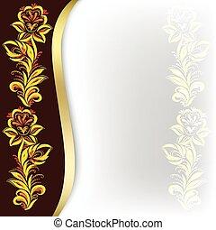 blommig, brun, abstrakt, prydnad, bakgrund