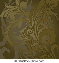 blommig, brun fond